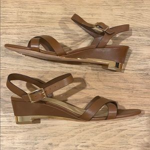Cole Haan tan sandals with gold accents size 9